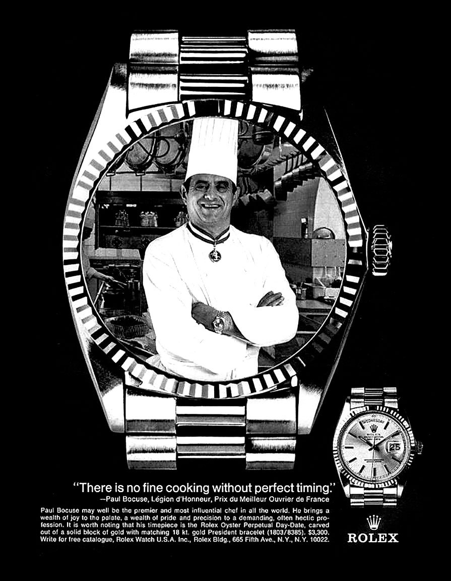 Vintage Rolex ad featuring the king of cuisine - Paul Bocuse. / Bönan