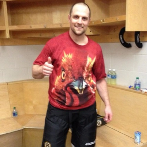 Seidenberg sporting the Rooster victory t-shirt postgame, thanks to  Ference for the pic! #nhlbruins