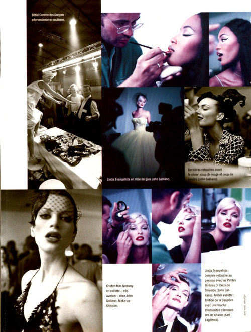 lalinda-evangelista:  Makeup at John Galliano Show - Glamour France 1995ph. Jean Marc Manson  This is the show where Linda wore the canary-yellow gown, which stayed in her bedroom for years before she donated it to the Metropolitan Museum of Art in New York.