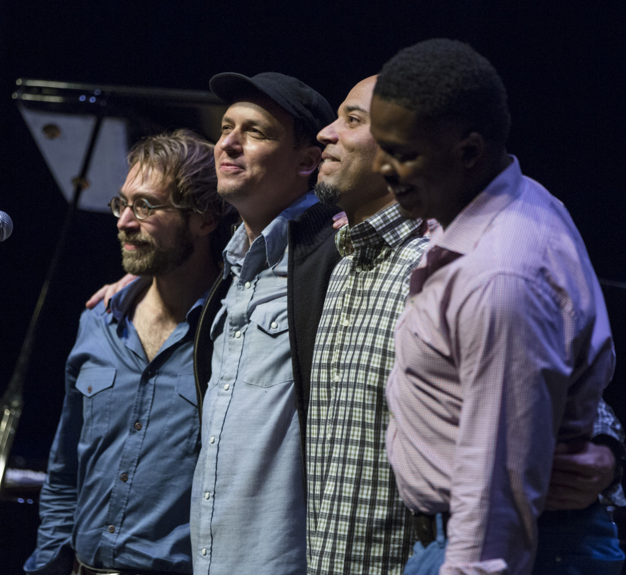 "thejazzbakery:  Kurt Rosenwinkel's ""Star of Jupiter"" Quartet with Aaron Parks (piano), Kurt Rosenwinkel (guitar), Eric Revis (bass) and Justin Faulkner (drums) at Kirk Douglas Theatre, Friday, February 22.  Part of the Jazz Bakery's Movable Feast/20th Anniversary Celebration.  Photo ©Bob Barry 2013"