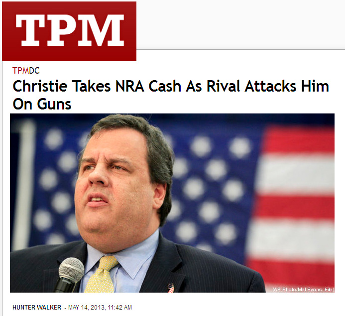 "NRA loves Christie's ridiculous non-plan to deal with gun violence.  Talking Points Memo: Campaign finance reports filed this week by New Jersey Gov. Chris Christie (R) show he has collected $3,000 in donations since March from a lobbyist with the National Rifle Association. The latest of those reports became public Monday, just as Christie's Democratic opponent in the Garden State governor's race, state Sen. Barbara Buono, has been hitting him for having a weak stance on gun control. ""We've seen really exceptional leadership across the river with Gov. Cuomo and Mayor Bloomberg, but unfortunately, in New Jersey, Gov. Christie has not shown leadership,"" Buono told TPM by phone on Monday evening.  ""Her criticism has centered on a task force Christie launched in January to address violence following the school shooting in Newtown, Conn.,"" the report goes on. ""Buono has repeatedly described the recommendations issued by that commission as 'shallow' and accused Christie of using it to avoid the issue of gun control immediately after the shooting."" ""Shallow"" works, but ""a joke"" would be good too. ""He set up this commission right after Newtown. I'm not sure why he set up the commission considering Vice President Biden had already set up a commission,"" said Buono. ""It really appeared as though it was a delay tactic to delay and put it off hoping that people would calm down after the latest tragedy."" The commission's recommendations: criminalize the video games like ""Call of Duty,"" as well as mental illness. There's even a call to ban the Barrett .50 caliber rifle — not because it's been a problem in New Jersey, but because it's featured in ""Call of Duty."" The NRA is apparently cool with this ban, I suppose because it helps lay the blame for gun violence in America on video games and not the deep saturation of guns in our population. Meanwhile, the state legislature is expected to pass legislation ignoring the panel's recommendations and instead expanding background checks. That legislation may not have a bright future and this might explain why the NRA is shoring up Christie early — a veto of background checks legislation is pretty much the same as voting against it. Ask Kelly Ayotte how that sort of thing plays in the northeast these days."
