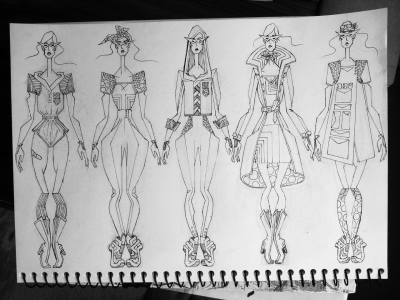 Spent most of the week designing these five outfits. Difficult to be that narrow, would be easier ti do 50… Theme is Action Heroines! Inspired by Wonder Woman, 3.1 Phillip Lim f/w 12 and comic books in general. Colouring will be done today and hopefully some trade sketches before the more creative and dynamic process begins.