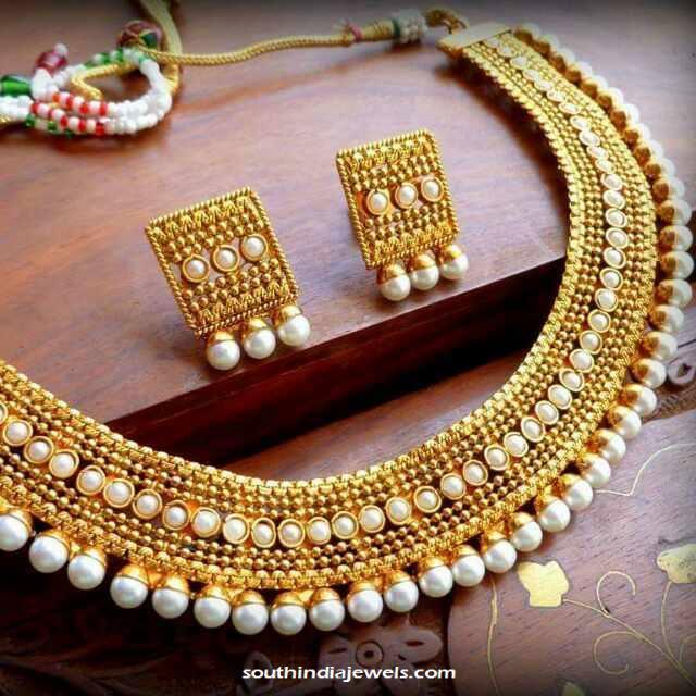 South india jewels 1 gram gold necklace set httpsouthindiajewels aloadofball Gallery