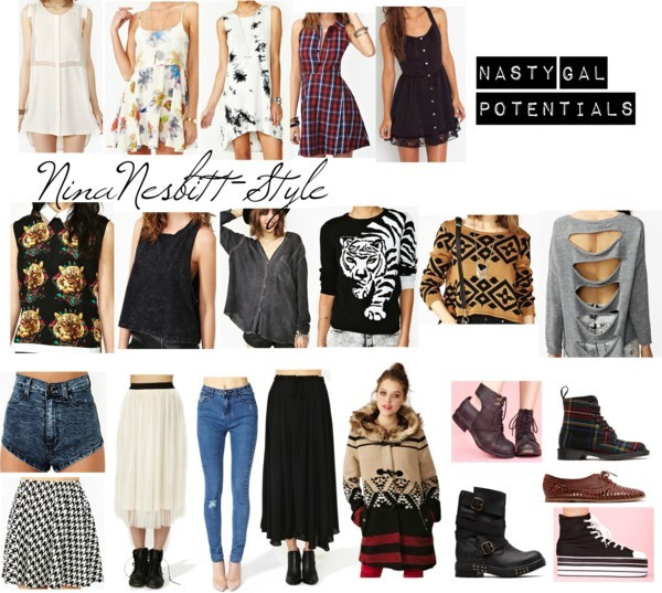 ninanesbitt-style:   Nasty Gal Potentials by ninanesbitt-style featuring scoop neck tops Short dress / Button down dress / Button down dress / Tie dye tank dress / Scoop neck top / Leather top / Tiger top / Top / Oversized top / Chiffon top / Scoop neck top / Coat / Skinny jeans / Maxi skirt / High waisted jean shorts / High waisted skirt / Lace up boots / Distressed boots / Lace up booties / Oxford / Canvas sneaker / Last Dance Skirt