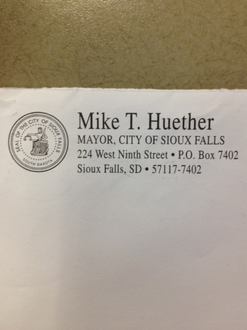 "arguspoliblog:  Mail from Mayor Mike Some Sioux Falls residents are getting mail from the mayor. The mailings are a survey from the city, asking residents how they rate city facilities, employees, services as well as asking respondents questions about themselves. This isn't the first time the city has conducted one of these surveys, but to my recollection, it's the first time the survey has gone out under the mayor's envelopes and letterhead. The attached letter is signed by Mayor Huether and City Council Chair Michelle Erpenbach, but the council did not pick any of the questions. In at least one past survey, the council did help develop a couple questions.  One person who received the survey almost threw it away, thinking it was junk mail. The survey is legit. But with a citywide election coming up in a little over a year, this piece of mail reminds me of the ""franking"" privileges that incumbents in Congress use to get their names out to voters at taxpayer expense."