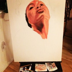 Rocking an Erykah badu piece. #art #oilpainting #p#wip #workinprogress #erykah #badu #instadope