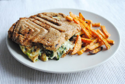 im-undone:  Whole grain panini with spinach and mozzarella omelette, sweet potato chips.