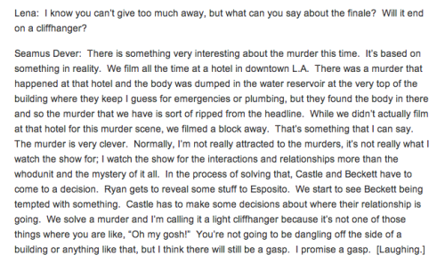 writingonthecastlewalls:  loverofcastle:  Seamus Dever talks about Watershed (x)  Something about the way he says this with a laugh makes me very happy…