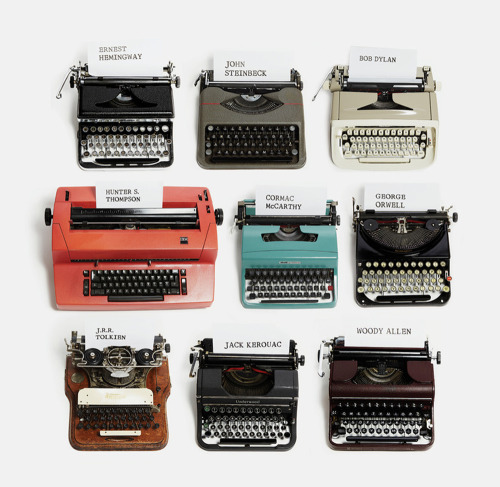 adropofsomethingcheerful:  likeafieldmouse:  Typewriters of famous authors  To this day, Woody Allen uses the typewriter on which he wrote one-liners to sell to papers in the 1950s.