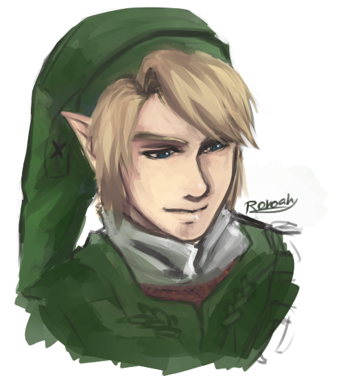 maroxo:  Half-assed doodle painting of Link, my childhood and still hero. <3 Twilight Princess Link is my favourite. He's beautiful