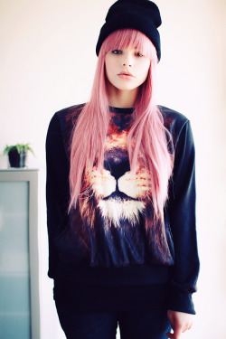 "fashionpassionates:  Get the sweater here: LION CLOSE UP SWEATER ""get your fashion fix with fashion passionates!"