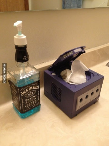 9gag:  Hipster bathroom!  Why the fuck would you do that to a Gamecube?