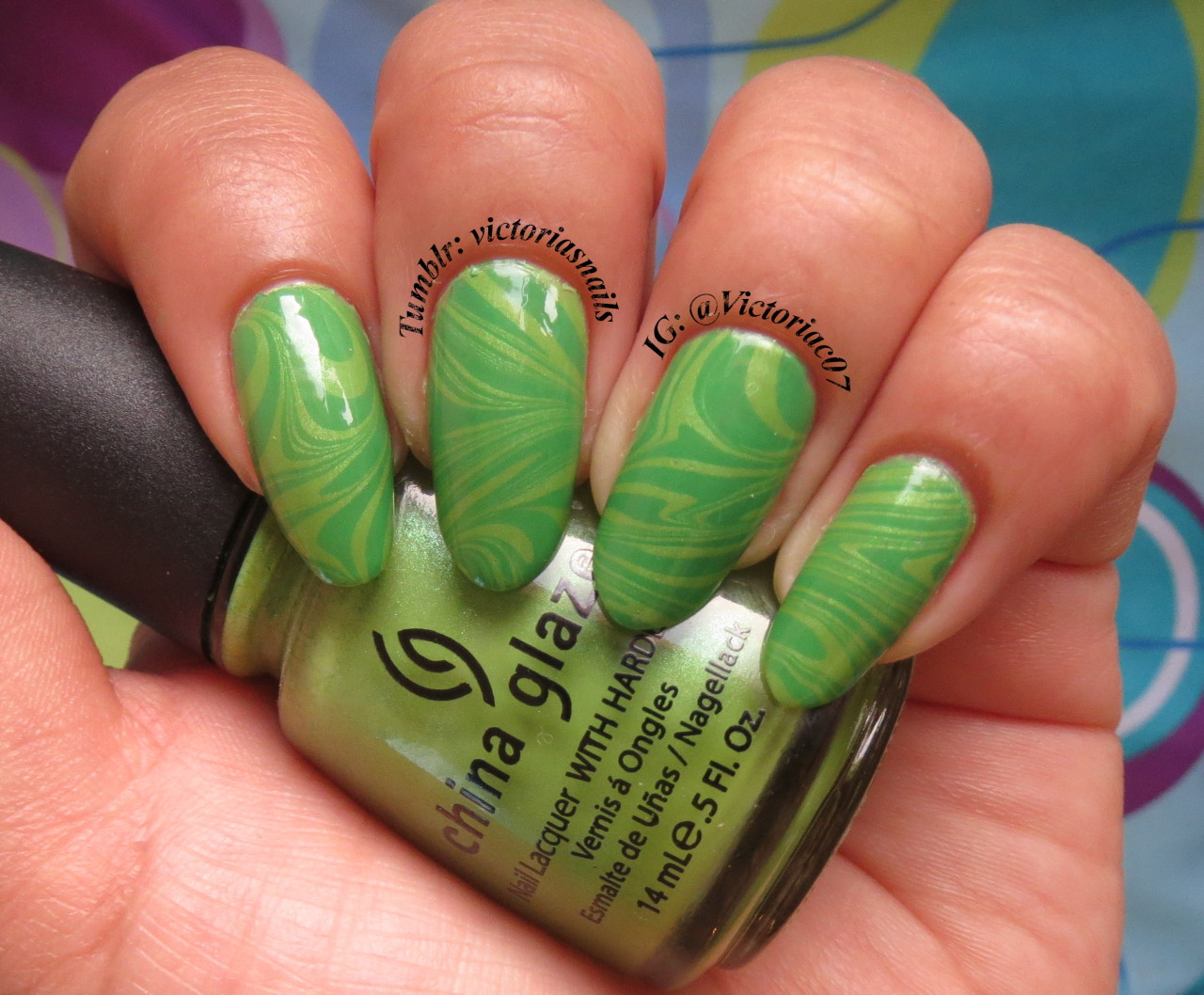 Of course I had to do a green water marble for St. Patty's Day!