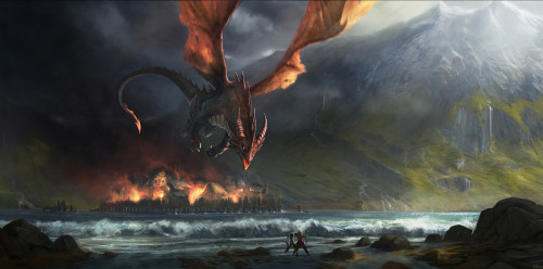 roadmaptodreams:  Smaug destroys Esgaroth by ~Gaius31duke