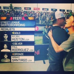 Congrats @nyjah_huston on another Street League win! Also, big congrats to @mannyslaysall on making it all the way through the qualifiers and placing 3rd!! #skatelife #skateboarding #streetleague #xgames