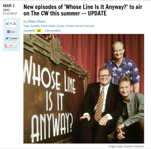 heydrago:  iamthemagicks:  tragicvillain:   Whose Line is it Anyway? to return on the CW this summer! Original performers Colin Mochrie, Ryan Stiles, and Wayne Brady to tag along (read more here!)      OMG JENNY ARE YOU SEEING THIS????? PLEASE RESPOND JENNY  I tagged you in this on facebook