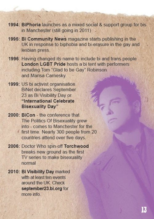 "bushgsa:  jenyockney:  A little UK bi history timeline from ""Getting Bi in a Gay / Straight World"", which you can get as real live inky bi booklet from BiPhoria  Always good to take a look at important people and places: as for me, I'm surprised Torchwood was the first UK television show to normalize bisexuality."