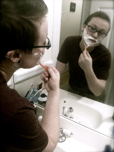 shaving off my peach fuzz for the first time