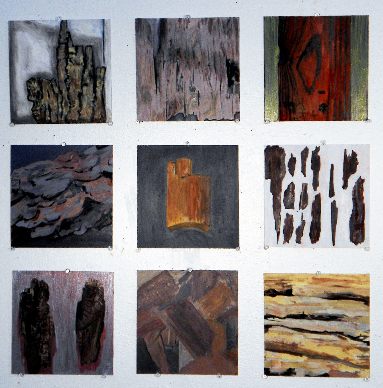 "Nine Paintings of Wood Oil on Masonite Each piece is 8"" x 8"""