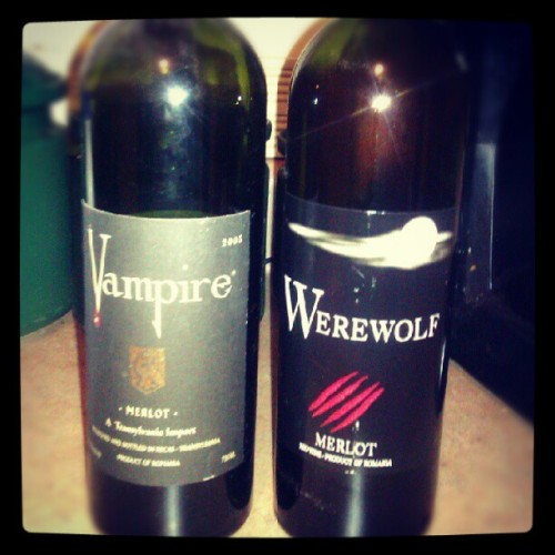 Two house wines under One roof, that's poppin'! #werewolves #vampires #wine #red #Merlot #Redwine #yourstruly -BM