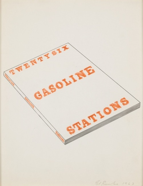 "christopherschreck:   ""The sixteen books Ed Ruscha produced between 1963 and 1978 are objects with dual personalities. On their covers, as in his paintings, Ruscha delights in enigmatic wording and phraseology, the depiction of words as a subject in itself, typography as both form and content, and the exploration of variations in physical format. On the exterior, when their covers are seen together, the books seem to form a miniature retrospective of Ruscha's paintings from that period, revealing a relationship between these apparently disparate aspects of his work. To perceive the covers as little paintings thus provides some insight into the conception of Ruscha's paintings and adds credence to his statement that he'd envisioned the title and cover of Twentysix Gasoline Stations first, as if it were a painting, and then took the pictures to conform to it. This visual relationship helps to account for the fact that Ruscha painted the edges of several canvases as if they were spines of books and, conversely, that he made numerous drawings and prints of the book covers, which are such curious subjects for depiction."" (above:Twentysix Gasoline Stations Slant, 1963. Graphite, colored pencil, pen, and ink on paper)   Yes."