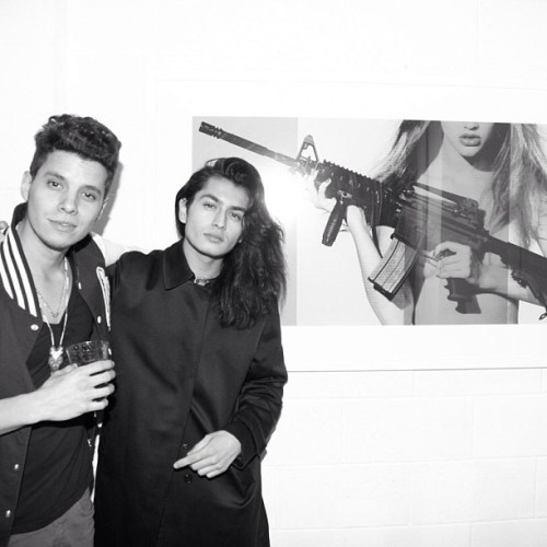 "Checking out one of my pieces ""M16"" with Justin at the show @_justinbarco telehinibition at the factory #teleinhibition"