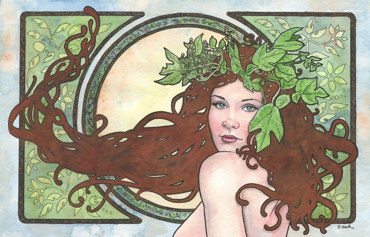 This is the 13th Art Nouveau/Alphonse Mucha inspired watercolor painting in a series I'm producing.The painting is on 12x18 inch Strathmore Cold Press watercolor paper. Done in watercolors and ink.Photo reference/inspiration can be seen here…http://misskitiketka.deviantart.com/gallery/?offset=48#/d5f59nlOriginal paintings can be purchased here…http://www.etsy.com/shop/ScottChristianSava?section_id=11821287and Limited Edition Prints can be purchased here…http://www.etsy.com/shop/ScottChristianSava?section_id=11821297Thanks for looking!Scott