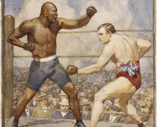 "zombienormal:  The Jack Johnson and Tommy Burns Fight, Norman Lindsay (1879-1969), 1908. Via:  ""On 26 December 1908, world heavyweight boxing champion Tommy Burns was defeated in 14 rounds by black American boxer Jack Johnson. Black boxers had been barred from participating in the elite heavyweight championship. Johnson's victory represented a break in the race barrier and a significant change in sport and race relations globally. The fight was held in the newly opened Sydney Stadium at Rushcutters Bay, attracting 60,000 spectators, inside and outside the stadium, and broadcast on radio stations internationally.""   1908"