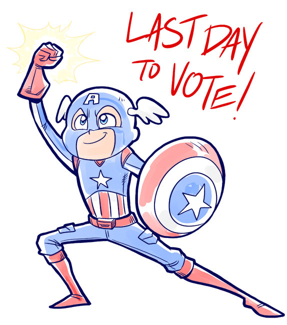 It's the LAST DAY of the Phoenix Comicon Badge Contest!!Captain America wants you to use your American civic duty, and GO VOTE! YAY!http://badgeart.phoenixcomicon.com/Thank you guys!