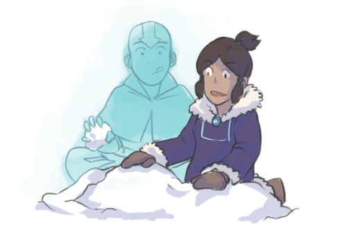 "omako:  an A/U where Korra grows up with a young Spirit Aang! She didn't have very many ""friends"" at the White Lotus Compound so naturally they became friends :')"