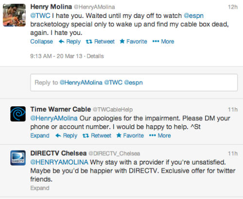 fek:  Fuck Time Warner. But also, well played, Direct TV Social Media Guy. Good hustle.  #slowclap