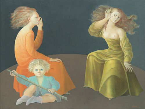surrealism:  The Echo Chamber by Leonor Fini, 1975. Oil on canvas, 35 ½ x 46 inches.
