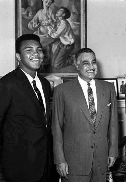 ragingegyptian:  President Gamal Abdel Nasser and Boxer Muhammad Ali in the early 1960s in Cairo.