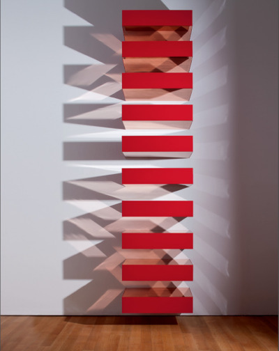 "Yup. jockohomo:  Donald Judd, Untitled 1989 represents the apex of Donald Judd's career-long involvement with establishing space and color as the foremost elements in art. The creation of rectilinear objects that confronted the viewer with their obdurate material presence was part of the visual vocabulary of so-called Minimalist artists, among them Robert Morris and Dan Flavin. But, only with Flavin does Judd share the extraordinarily compelling visual opulence that catalyzed these artists' concern with the visual activation of space. Writing ""there is no neutral space, since space is made,"" with Untitled, Judd insisted that his objects existed as self-evident participants with no relation to anything beyond their factual presence: material and color are the work's only constituent elements."