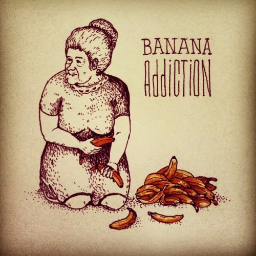 kutoboy:  #drawing #illustration #granny #banana #addiction