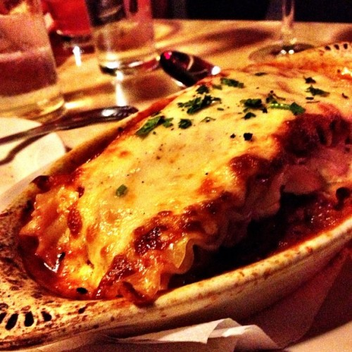 Ground Veal Lasagna nom! (at Lasagna Ristorante, Chelsea, NYC by Plaintruthiness)