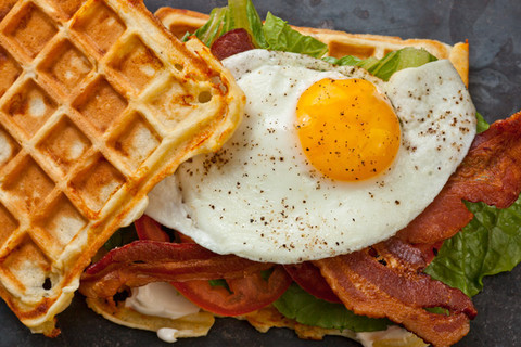 Savory Cheddar Waffle BLT Sandwich with Fried Egg