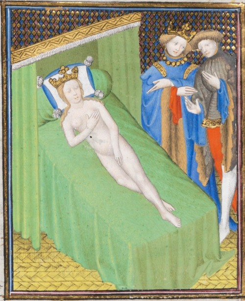 15th century (ca.1410) France (Paris)       Genève, Bibliothèque de Genève Ms. fr. 190/1:  Des cas des nobles hommes et femmes by Giovanni Boccaccio fol. 74v - wife of Candaules; being watched by her husband and Gyges http://www.e-codices.unifr.ch/en/list/one/bge/fr0190-1