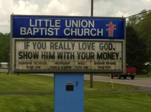proud-atheist:  A church sign in my town gets right to the point…http://proud-atheist.tumblr.com