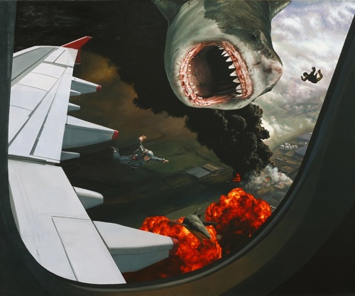 "artchipel:  Caleb Brown - Shark Drop 3. Oil on Canvas, 30"" X 25"" (2012)"