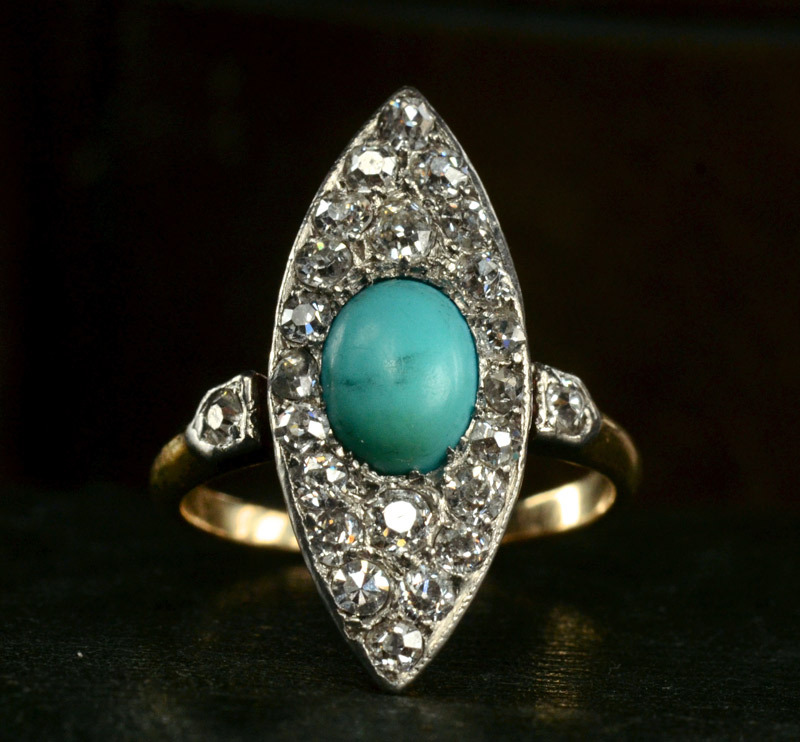 1890s Victorian Turquoise and European Cut Diamond Ring, Platinum, 14K (sold)