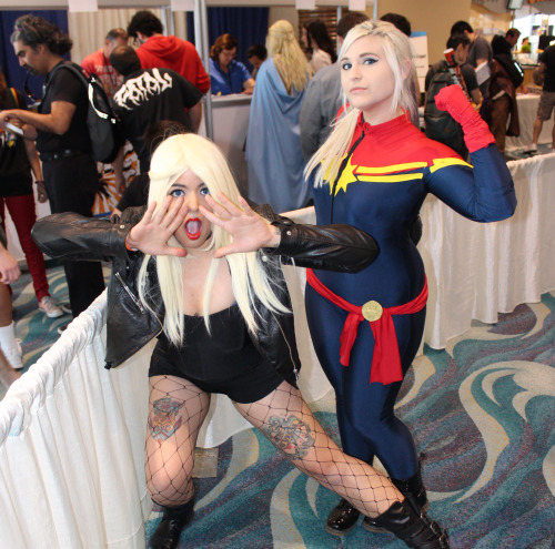 thehappysorceress:  alexhchung:  Black Canary and Captain Marvel cosplay at Long Beach Comic Expo 2013  How's that for two bad-ass ladies?!?