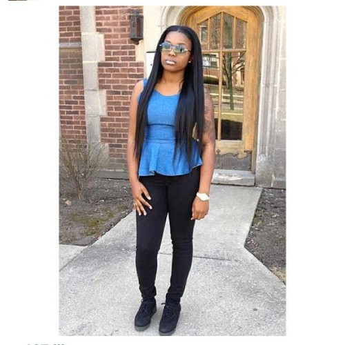 vintage-tee:  @kia3x_ in the Denim Peplum Top made by me 💁