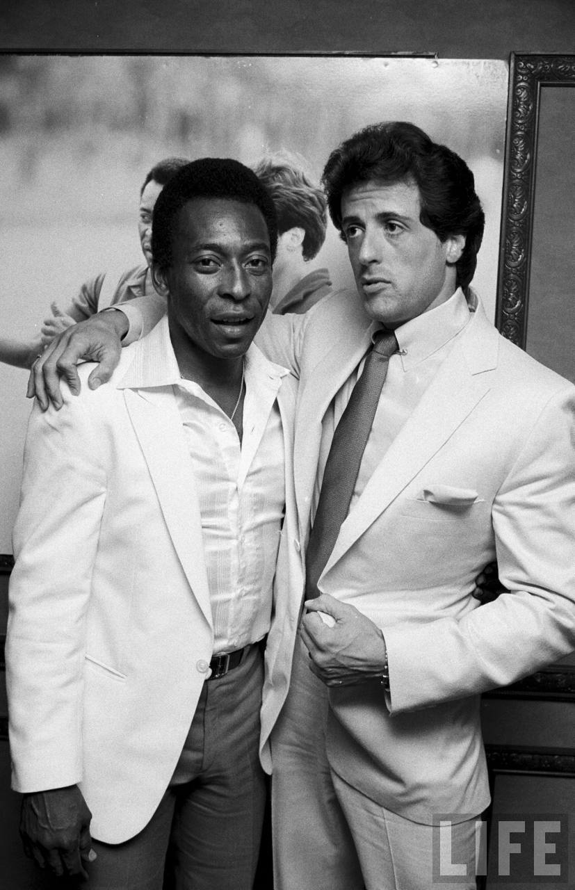 Pele with Sylvester Stallone at a party for their film Escape to Victory, July 16, 1981.Source: LIFE