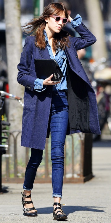 "chung-alexa:  ""Alexa Chung Running errands around New York City."" Wearing: Carven coat Madewell shirt Acne Skin 5 Soul Sling Jeans ($220) Cacharel x Cutler & Gross Circular Lens Sunglasses ($525) Vivienne Westwood shoes Alternatives: Lands' End Tall Luxe Wool Double Breasted Coat ($289) Blank Denim Denim Shirt ($62) ASOS High Waist Skinny Jeans ($50) in Vintage True BlueUrban Outfitters Daisy Mae Round Sunglasses ($14) Kelsi Dagger Plie Date Flat ($115)"