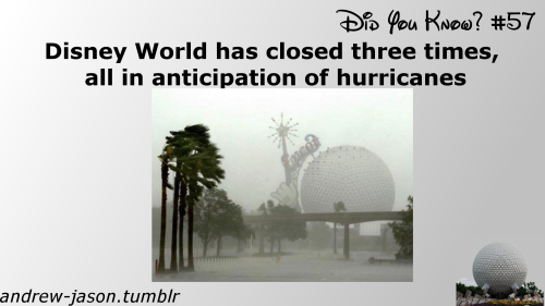 Did You Know:Disney World has closed three times, all in anticipation of hurricanesEdit:The theme parks underwent an emergency evacuation on 9/11 and closed, however Disney World as a resort remained open. In fact the resort facilities stayed open longer than usual and many cast members worked hard to keep guest happy outside of the parks. There were even characters roaming all around the Boardwalk area.