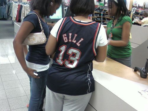 "Kendall Gill, New Jersey Nets:  ""I'd like to return this jersey.  Oh, no, same jersey, just a different size.""  (Found by Jonathan in Richmond.)"