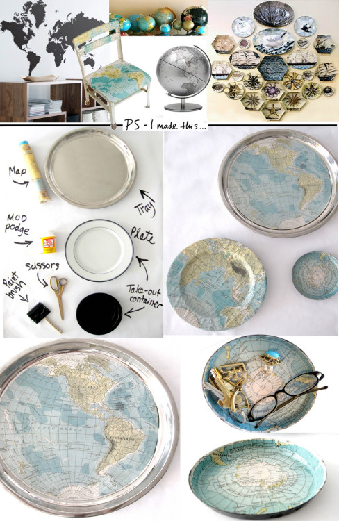unconsumption:  More map reuse, via ps-imadethis, who decoupaged maps onto a tray, an old dinner plate, and the bottom of a leftover plastic food container. How-to:  Cut your maps in circles, long strips, or simply cover the entire surface. Be sure to cut slits on the paper so it can easily bend around the curved edges, keeping lines flush against surface.  Once the paper is in place, then grab your paint brush and go to work! I suggest 2-3 coats for the [Mod Podge]. Put on evenly, and wait until each layer is dry until slapping on another coat.