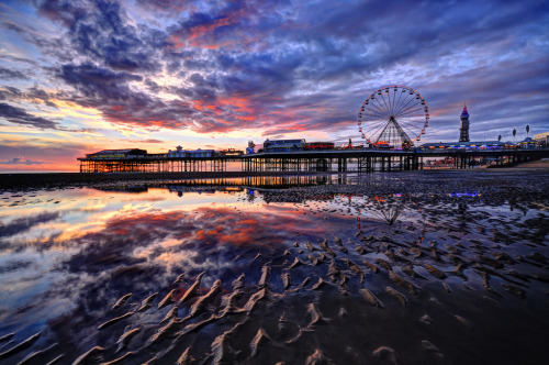 landscapelifescape:  Blackpool, Lancashire, England Blackpool Beach Sunset (by Jason Connolly)  Riding the ferris wheel in town soon myself :)