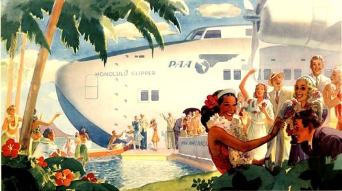 """ Honolulu Clipper ""  …  Promotional illustration used by Pan American Airways for service from San Francisco to Hawaii  [Circa 1935 to 1940]"